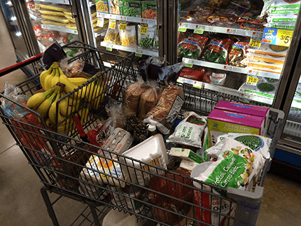 Groceries in a shopping cart