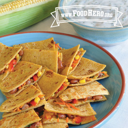 Recipe Image for Veggie Quesadillas with Cilantro Yogurt Dip