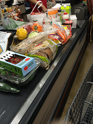 Groceries at a checkout