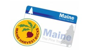 Maine Harvest Bucks Logo with image of Maine EBT card